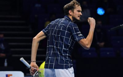 Daniil Medvedev in the Final of the 2020 Nitto ATP Finals, London, 2020