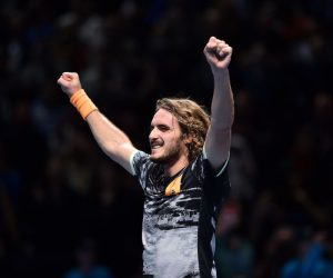 Stefanos Tsitsipas in the final of the 2019 Nitto ATP Tour Finals, London, England