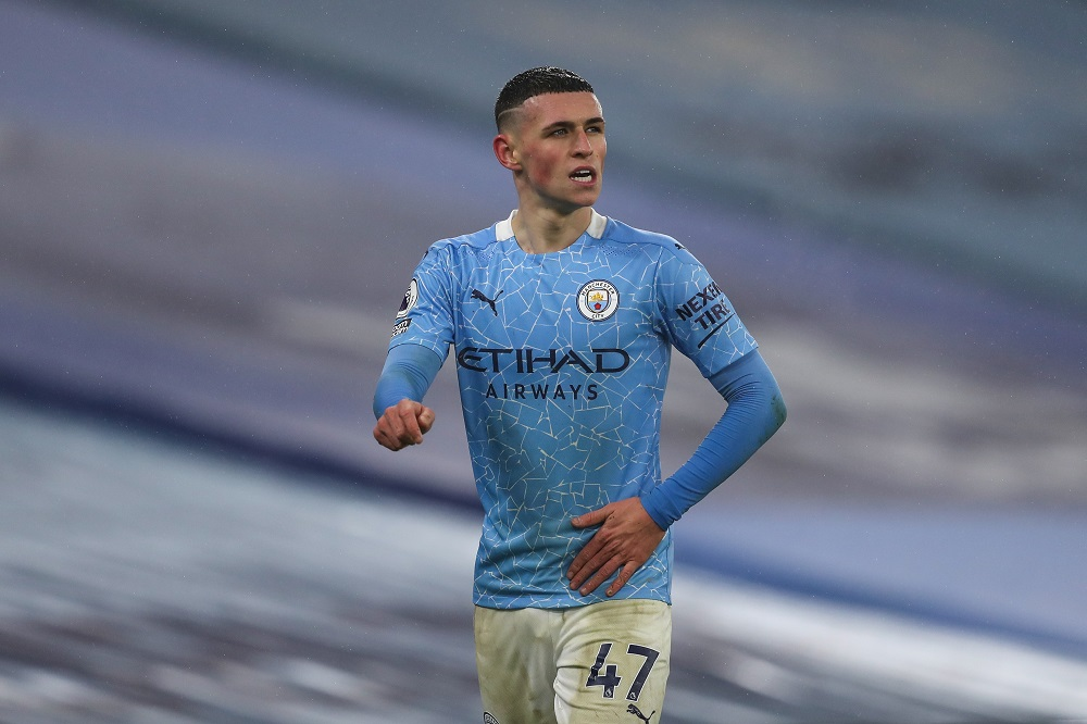 Phil Foden in the match between Manchester City and Brighton & Hove Albion, January 2021