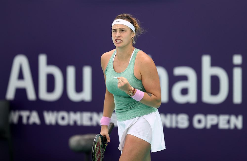 Aryna Sabalenka in the final of the 2020 WTA Abu Dhabi Women's Tennis Open, UAE