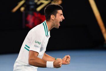 Novak Djokovic after winning the 2021 Australian Open, Melbourne