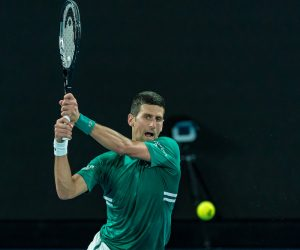 Novak Djokovic in the quarter-final of the 2021 Australian Open, Melbourne