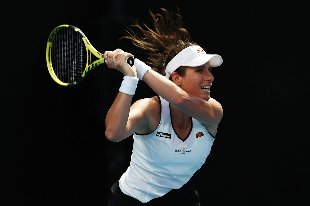 Johanna Konta in the first round of the Australian Open 2021