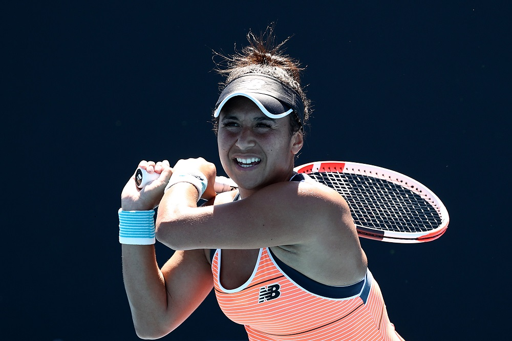 Heather Watson in the first round of the 2021 Australian Open