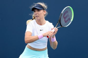 Katie Boulter in the first round of the 2021 Miami Open, Florida, USA
