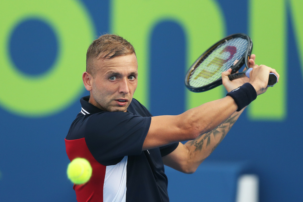 Dan Evans in the first round of the 2021 Qatar ExxonMobil Open, Doha