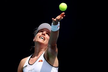 Johanna Konta in the second round of the 2021 Miami Open, Florida, USA
