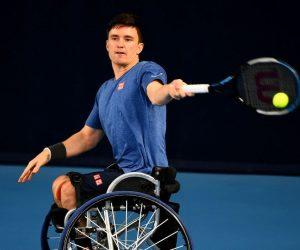 Gordon Reid in the 2021 Loughborough Indoor Wheelchair Tennis Tournament