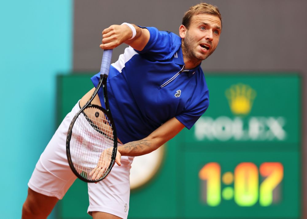 Dan Evans in the first round of the 2021 Mutua Madrid Open, Spain
