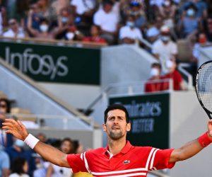 Novak Djokovic in the 2021 Final of Roland Garros, Paris, France