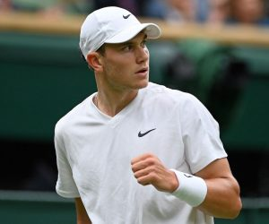 Jack Draper in the first round of 2021 Wimbledon, London, UK