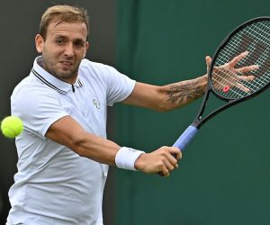 Daniel Evans in the first round of 2021 Wimbledon, London, UK