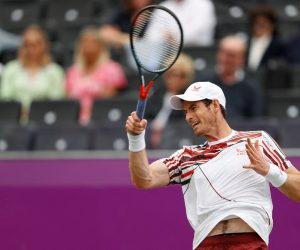 Andy Murray in the second round of the 2021 cinch Championships, London, UK