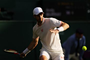 Andy Murray in the first round of 2021 Wimbledon, London, UK