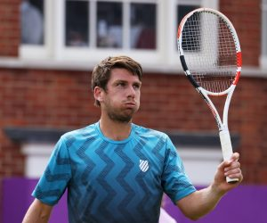 Cameron Norrie in the first round of the 2021 ATP Queen's tournament, UK