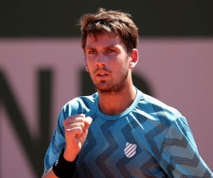 Cameron Norrie in the first round of 2021 Roland Garros, Paris, France