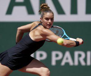 Maria Sakkari in the 2021 Roland Garros quarter-final, Paris, France