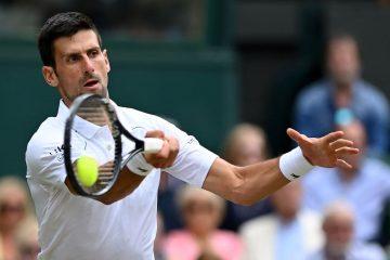 Novak Djokovic in the quarter-final of Wimbledon 2021, London, UK