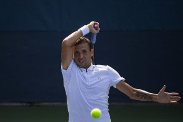Dan Evans in the first round of the 2021 US Open, New York, USA