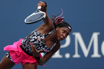 Coco Gauff in the first round of the 2021 US Open in New York, USA