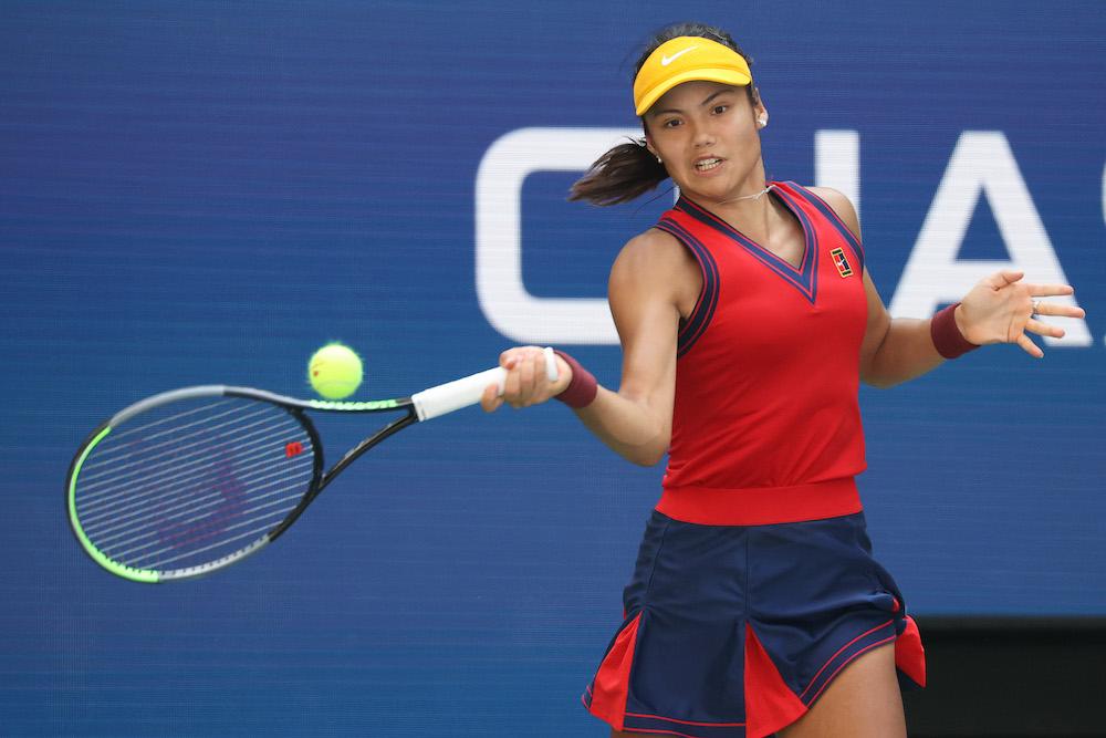 Emma Raducanu in the quarter-final in the 2021 US Open in New York