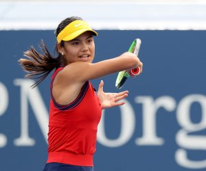 Emma Raducanu in the first round of the 2021 US Open, New York, USA
