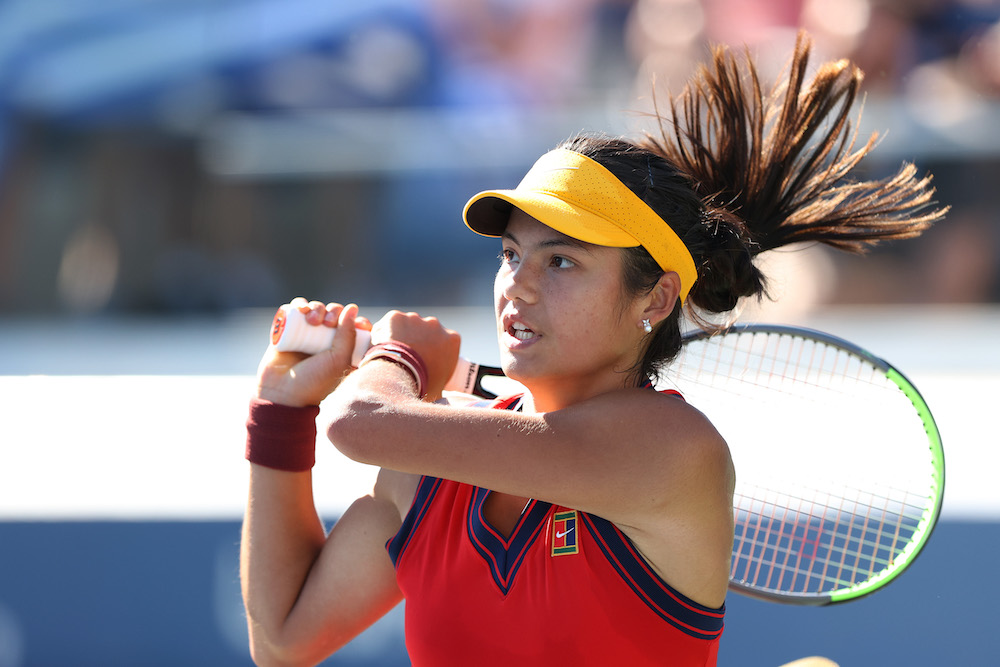 Emma Raducanu in the third round of the 2021 US Open in New York