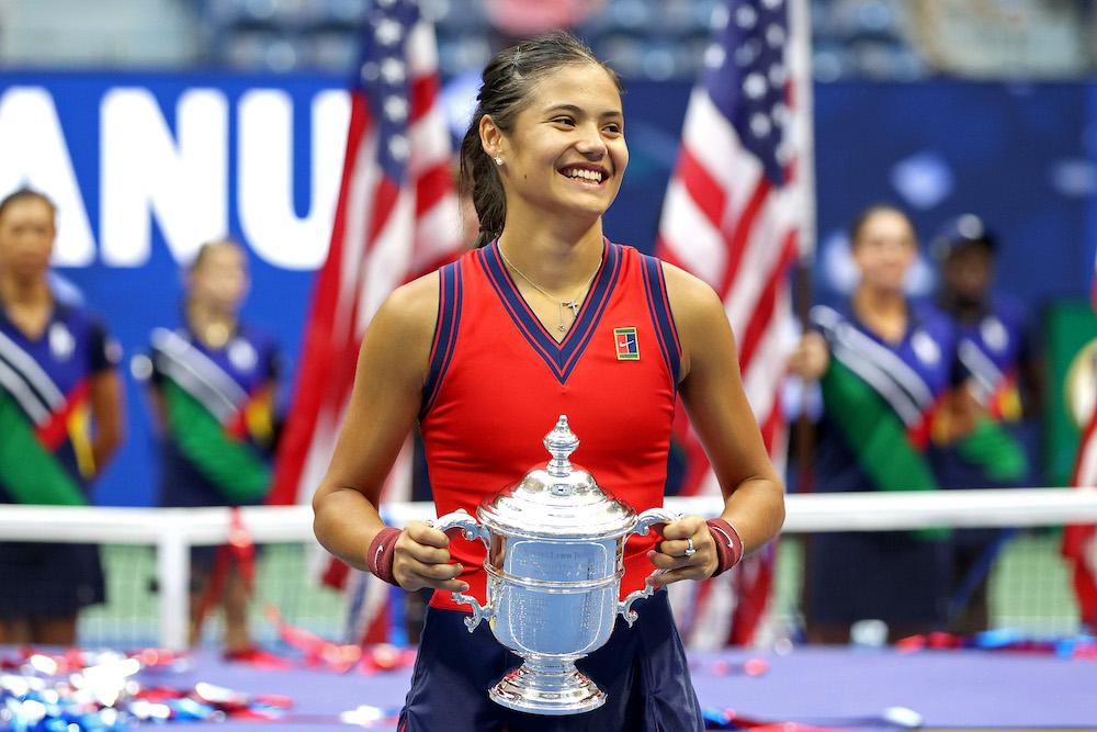 Emma Raducanu after winning the 2021 US Open in New York