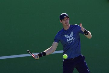 Andy Murray practicing at the 2021 BNP Paribas Open in Indian Wells, USA