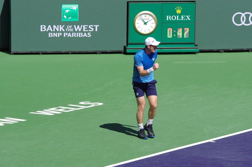 Andy Murray in the second round of the 2021 BNP Paribas Open at Indian Wells, California