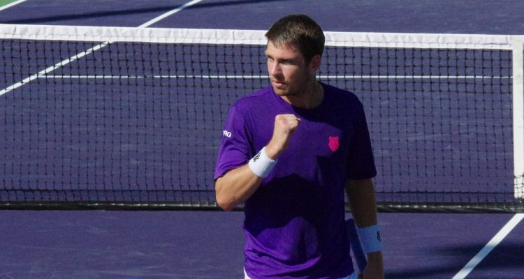 Cameron Norrie in the second round of the 2021 BNP Paribas Open, Indian Wells, USA